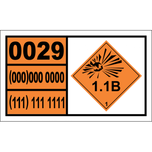 Detonators, Non-Electric Hazchem Placard - UN0029