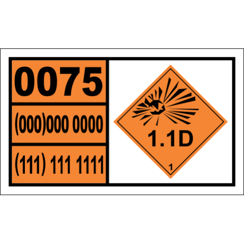 Diethyleneglycol Dinitrate, Desensitized Hazchem Placard - UN0075