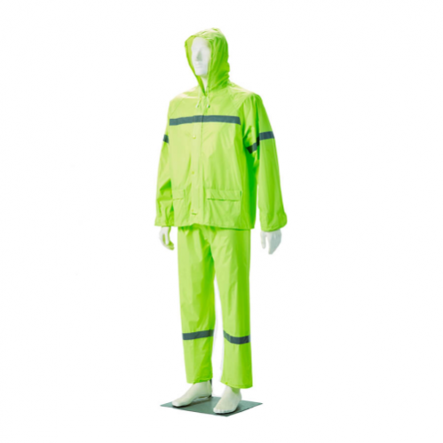 DROMEX Rubberised Hi-Viz Reflective Rain Suit - Lime