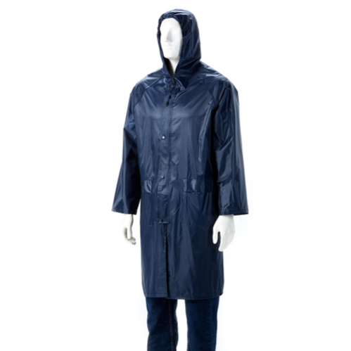 DROMEX Rubberised Raincoat - Calf Length - Navy