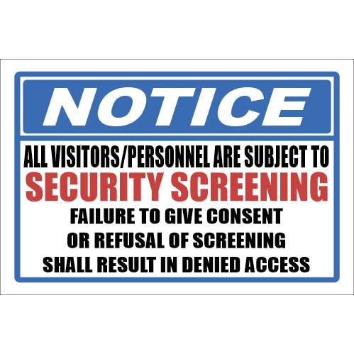 SSE047 - Notice - Security Screening Sign