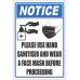 SSE049 - Please Use Hand Sanitiser And Face Mask Sign