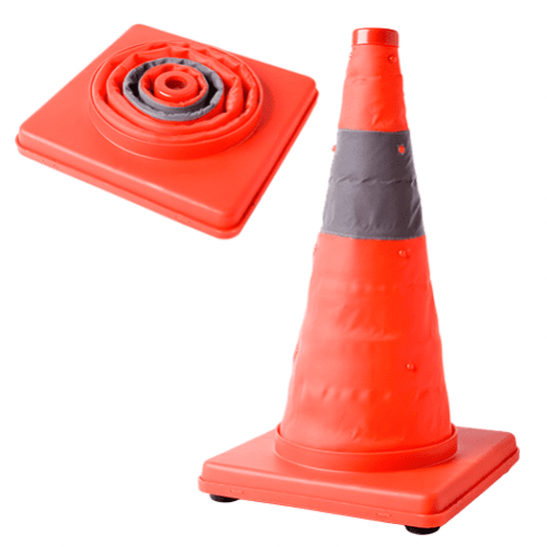Collapsible Road Cone c/w Flash Light - 700mm