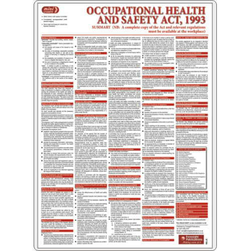 Occupational Health Safety Ohs Act Poster