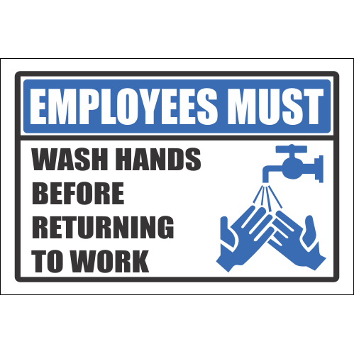 H6 -  Employees Must Wash Hands Sign