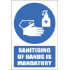 H28 - Sanitising Of Hands Is Mandatory Sign