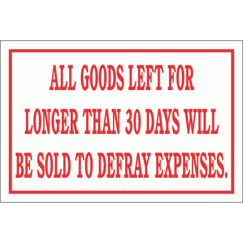 DI17 - Goods Not Collected Sign