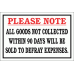 DI20 - Goods Not Collected Sign
