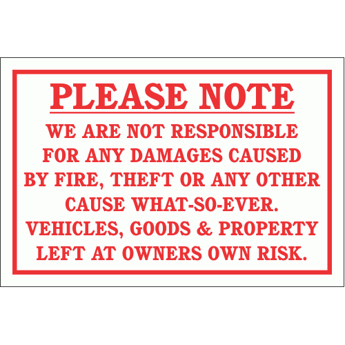 DI11 - No Responsibility Disclaimer Sign