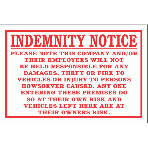 DI25 - No Responsibility indemnity Sign