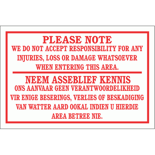 DI3 - Notice disclaimer Sign