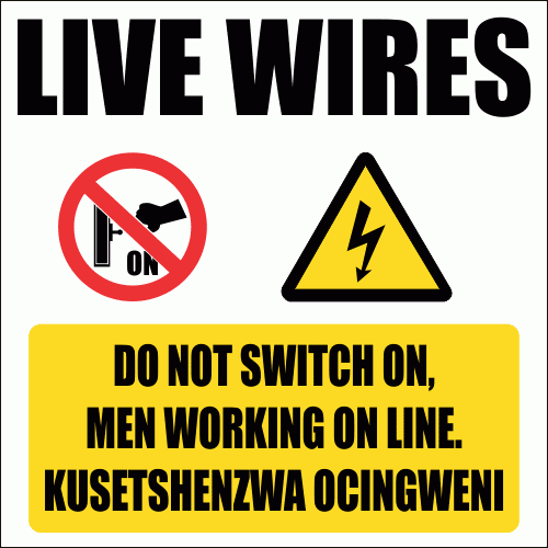 E5 - Do Not Switch On Sign