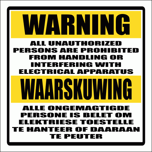 E9 - Electric Shock Warning Sign