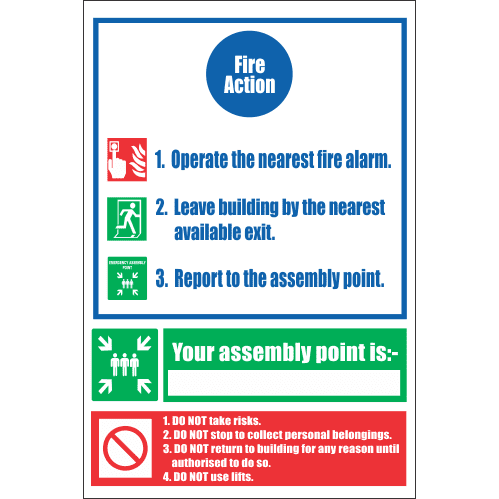 FR26 - Fire Action  Safety Sign IV