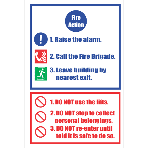 FR29 - Fire Action  Safety Sign VI