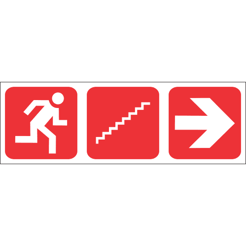 FR55 - Fire Escape Stairs Right Safety Sign