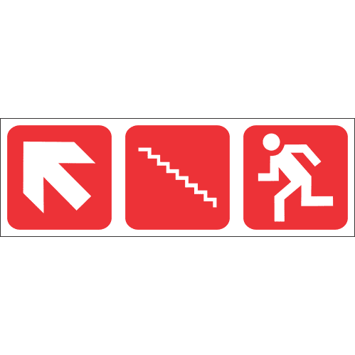 FR60 - Fire Escape Stairs Up Left Safety Sign