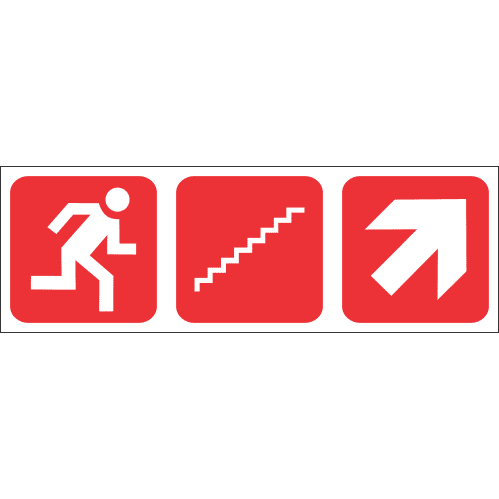 FR59 - Fire Escape Stairs Up Right Safety Sign