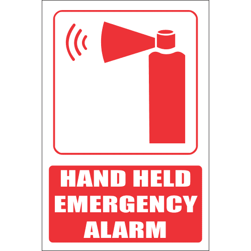 FB13E - Hand Held Emergency Alarm Explanatory Safety Sign