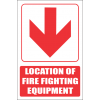 FB1EB - Red Arrow - Location Of Fire Fighting Equipment Below Explanatory Safety Sign