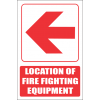 FB1EL - Red Arrow - Location Of Fire Fighting Equipment Left Explanatory Safety Sign