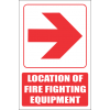 FB1ER - Red Arrow - Location Of Fire Fighting Equipment Right Explanatory Safety Sign