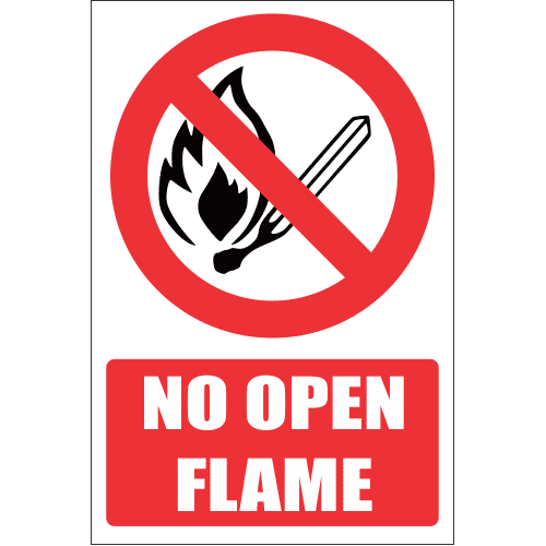 F1E - No Open Flame Explanatory Safety Sign