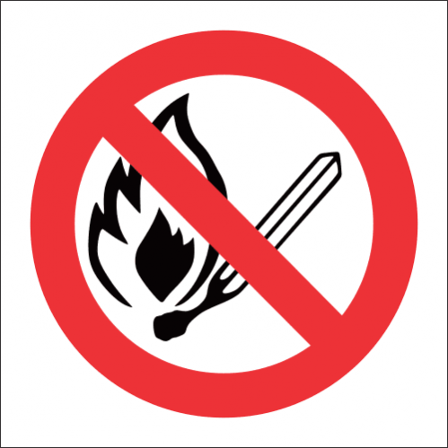 FR1 - No Open Flame Safety Sign