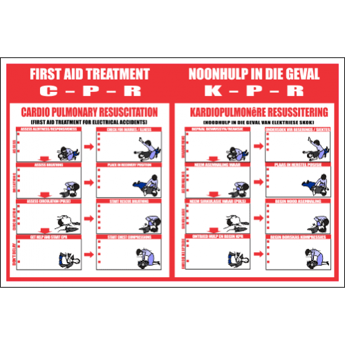FA7 - CPR Cardio Pulmonary Resuscitation English And Afrikaans Sign