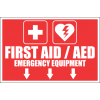 FA45 - First Aid And AED Emergency Equipment Ahead Sign