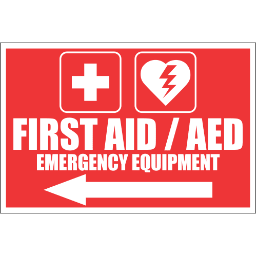 FA46 - First Aid And AED Emergency Equipment Left Sign
