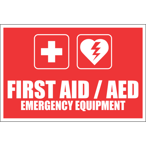 FA44 - First Aid And AED Emergency Equipment Sign