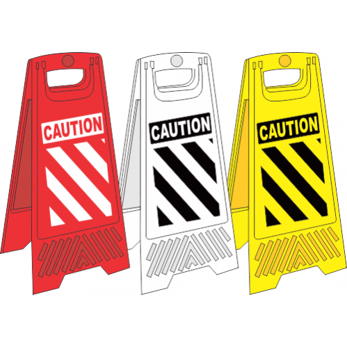FS5 - Chevron A-Frame Floor Stand - Yellow, White and Red