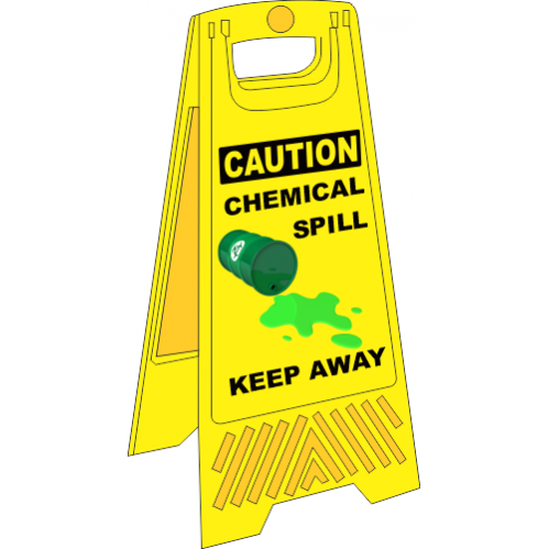 FS37 - Chemical Spill A-Frame Floor Stand - Yellow