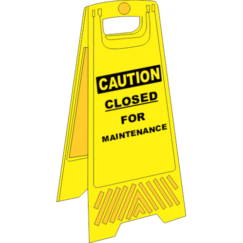 FS3 - Closed For Maintenance A-Frame Floor Stand - Yellow