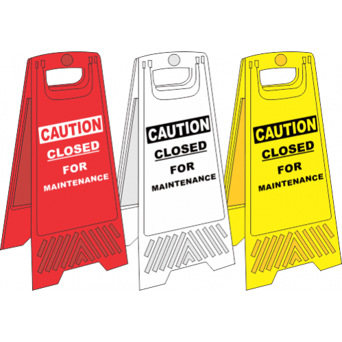 FS3 - Closed For Maintenance A-Frame Floor Stand - Yellow, White and Red