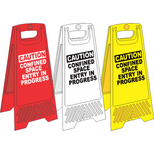 FS4 - Confined Space A-Frame Floor Stand - Yellow, White and Red