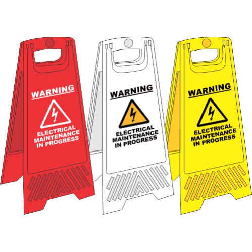 FS25 - Electrical Maintenance A-Frame Floor Stand - Yellow, White and Red