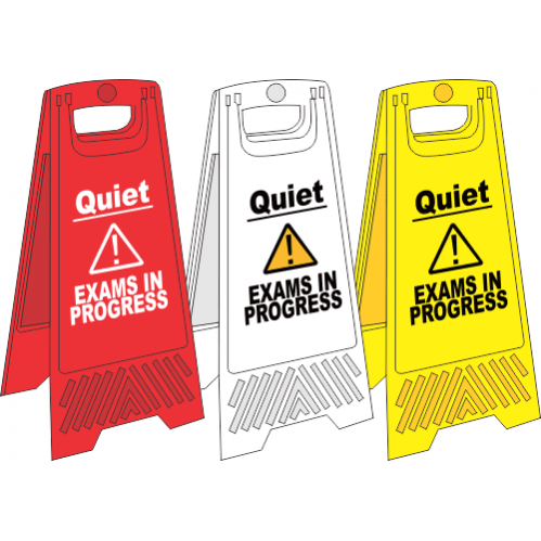 FS24 - Exams In Progress A-Frame Floor Stand - Yellow, White and Red