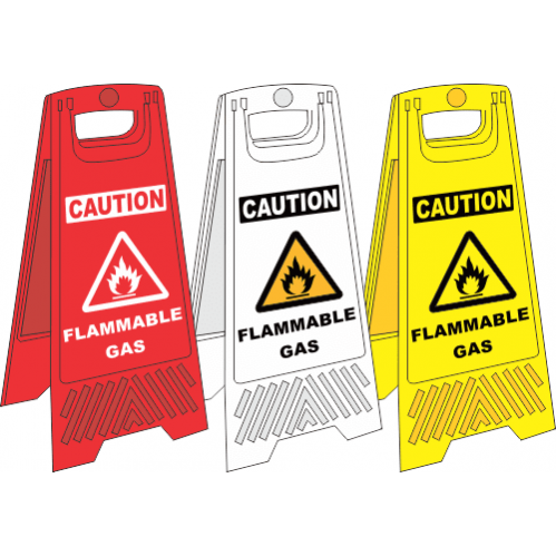 FS31 - Flammable Gas A-Frame Floor Stand - Yellow, White and Red