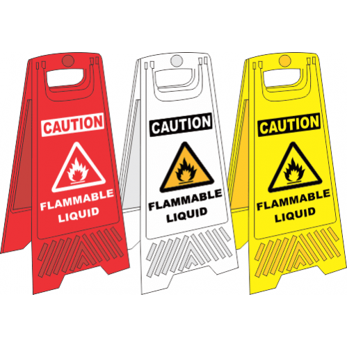 FS30 - Flammable Liquid A-Frame Floor Stand - Yellow, White and Red