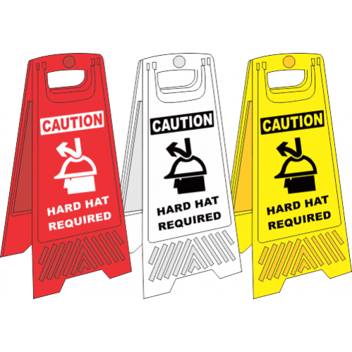 FS35 - Hard Hat Area A-Frame Floor Stand - Yellow, White and Red