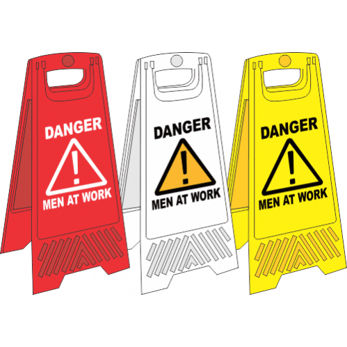 FS14 - Men At Work A-Frame Floor Stand - Yellow, White and Red