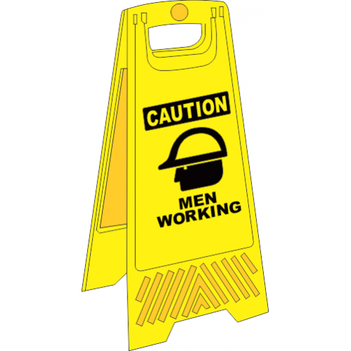 FS10 - Men Working A-Frame Floor Stand - Yellow