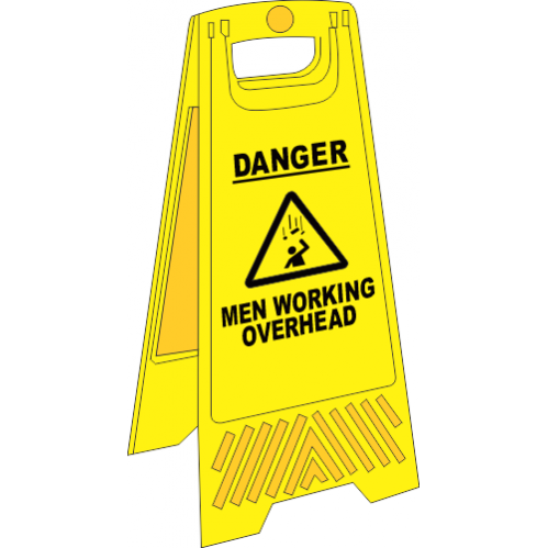 FS15 - Men Working Overhead A-Frame Floor Stand - Yellow