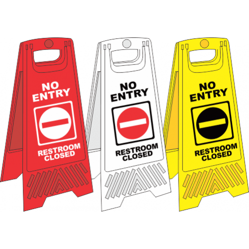 FS18 - No Entry A-Frame Floor Stand - Yellow, White and Red