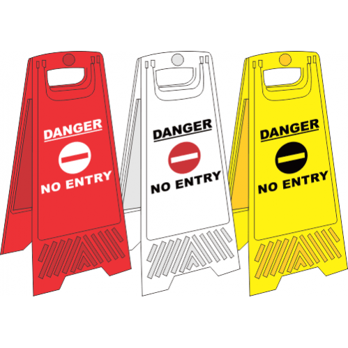 FS26 - No Entry A-Frame Floor Stand - Yellow, White and Red