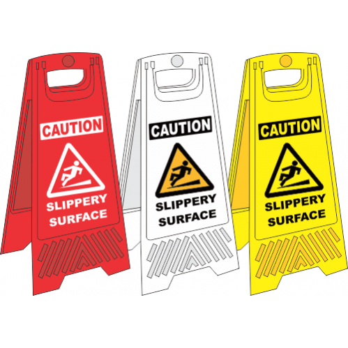 FS28 - Slippery Surface A-Frame Floor Stand - Yellow, White and Red