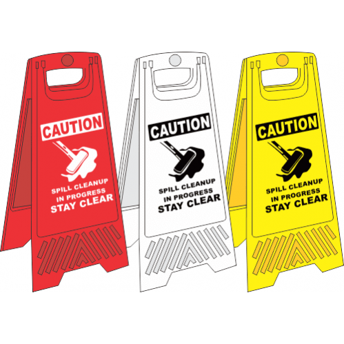 FS11 - Spill Cleanup A-Frame Floor Stand - Yellow, White and Red