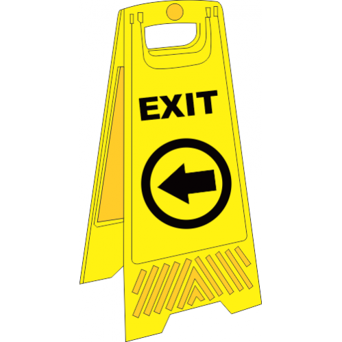 FS33 - Temporary Exit Left A-Frame Floor Stand - Yellow